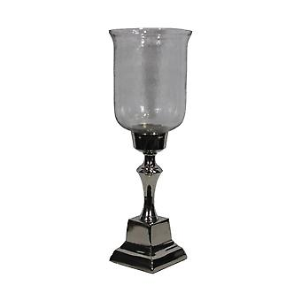 Stunning Hammered Glass Candle Holder - Silver
