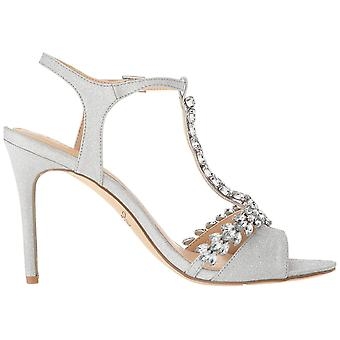 Jewel Badgley Mischka Women's MAXI Sandal, silver glitter, M055 M US