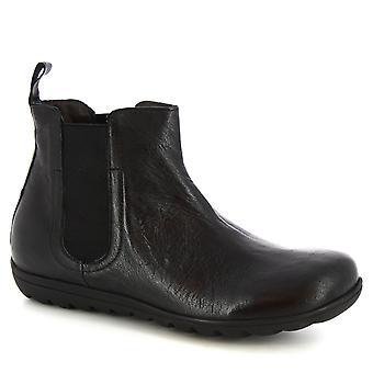 Leonardo Shoes Kobiety's ręcznie botki czarne juz skóra łydki wykonane we Włoszech