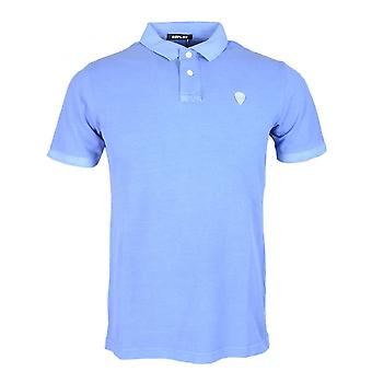 Replay Cotton Stiched Logo Blue Polo