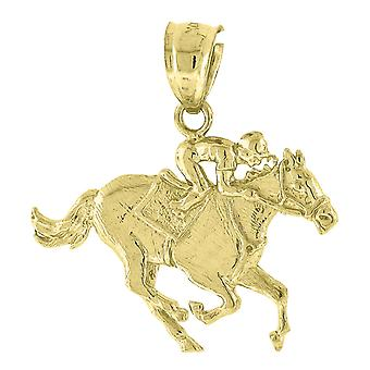 10k Yellow Gold Men's Jockey On Horse Animal Height 22.3mm X Width 22mm Animal Charm Pendant Necklace Jewelry Gifts for