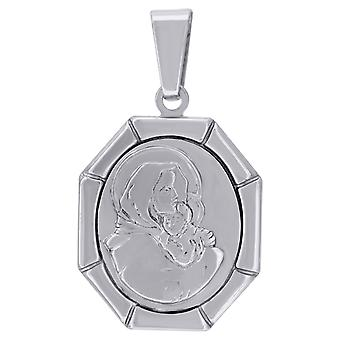 925 Sterling Silver Unisex CZ Virgin Mary and Child Religious Charm Pendant Necklace Measures 34.3x19.7mm W