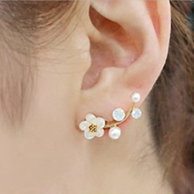 Crystals and Flower Climber Earrings