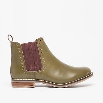Cipriata Lidia Ladies Leather Brogue Detail Chelsea Boots Olive Green