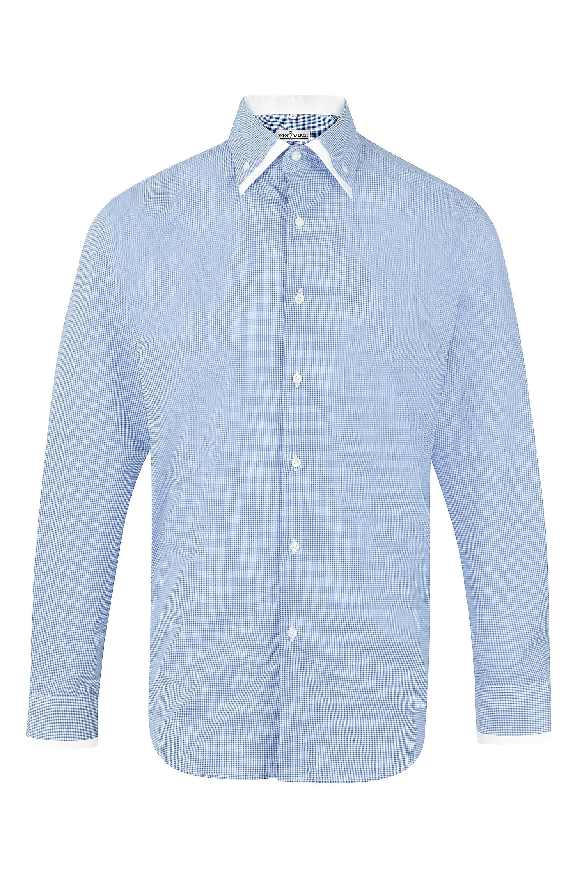 JSS Textured Dot Blue Regular Fit 100% Cotton Shirt With White Double Collar