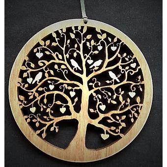Hanging Wood Plaque - Tree of Life Hearts & Birds Small Knightingale Crafts