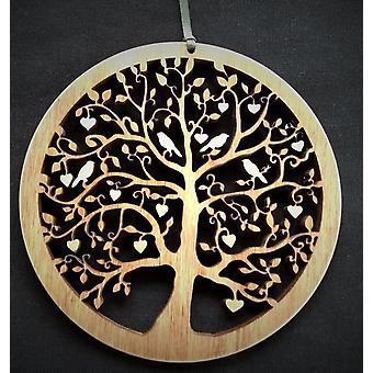 Hængende træ plade - Tree of Life Hjerter & Fugle Små Knightingale Håndværk