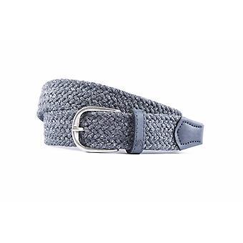 Blauer Gürtel mit gewebtem Band und Leder-Finish