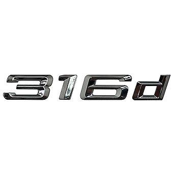 Silver Chrome BMW 316d Car Model Rear Boot Number Letter Sticker Decal Badge Emblem For 3 Series E36 E46 E90 E91 E92 E93 F30 F31 F34 G20