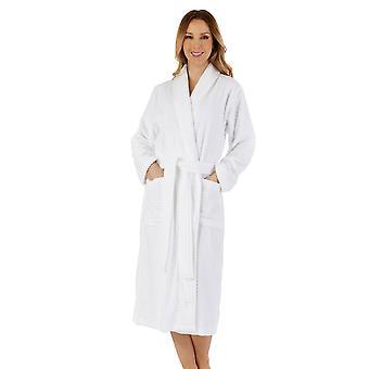 Slenderella HC1310 Women's White Cotton Robe Dressing Gown