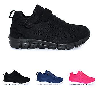 Unisex Kids Lightweight Mesh Walking Flat Strap Lace Up Trainers UK 12-6