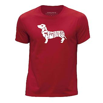 STUFF4 Boy's Round Neck T-Shirt/Dog Love / Dachshund/Red