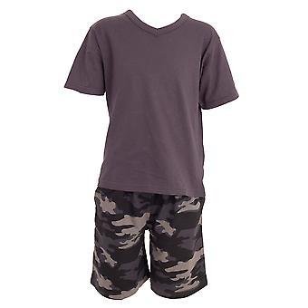 Tom Franks Boys V-Neck Camo Kort Pyjamas Set