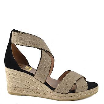 Kanna Laura Black And Beige Espadrille Wedge Sandal