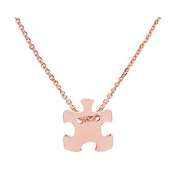 Ah! Jewellery 18K Rose Gold Over Sterling Silver Puzzle Necklace, Stamped 925