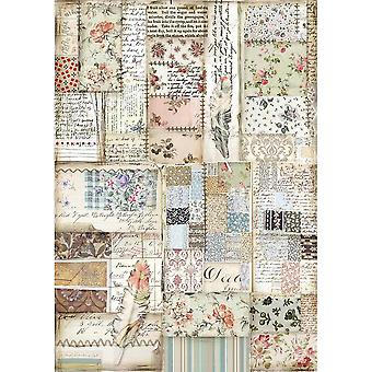 Stamperia Rice Paper A4 Patchwork Feather