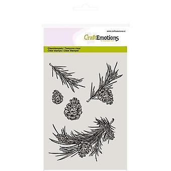 CraftEmotions Clear Stamps A6 - tall gren och kottar tall Winter Woods