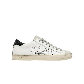 P448 S20johnwwhipbl Women's White Leather Sneakers