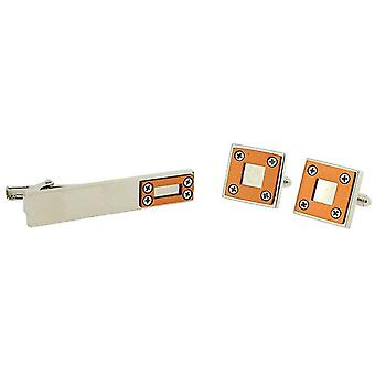 Artamis Gents Steel Plated Cufflinks & Tie Bar Gift Set Presentation Box CLT4