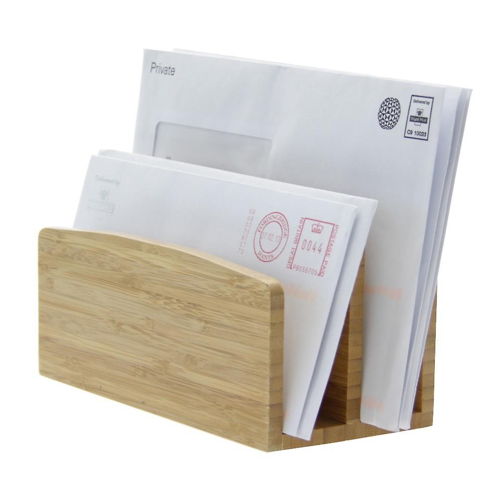 Woodquail Bamboo Letter Rack File Paper Holder
