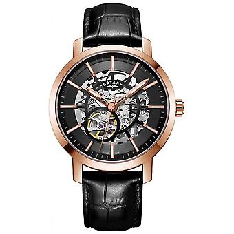 Rotary Mens Greenwich G2 Automatic Skeleton Dial Rose Gold Tone GS05354/04 Watch