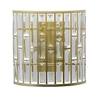 Glasberg-acabamento em ouro luz parede dois luz com cristais 121020102