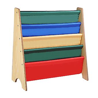 Yescom Wood Kids Book Shelf Sling Storage Rack Organizer Bookcase Display Holder Natural