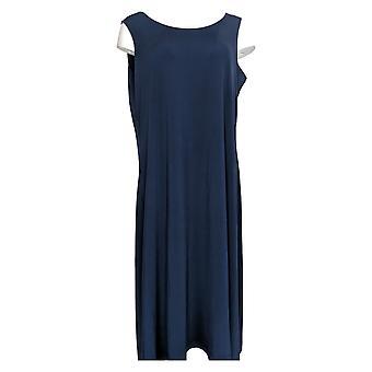 Serengeti Petite Dress Liquid Knit Sleeveless Maxi Blue