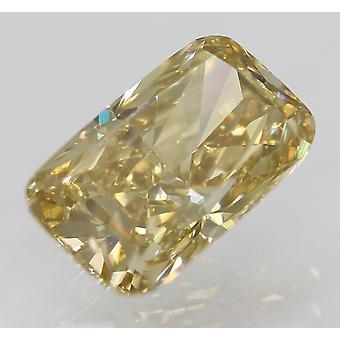 Cert 1.00 Carat Brown Yellow VVS2 Cushion Natural Loose Diamond 7.49x4.55mm