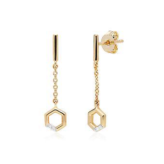 الماس باف السداسي تتدلى سلسلة الأقراط قطرة في 9ct الذهب الأصفر 191E0396029