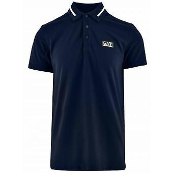 EA7 Navy & Gold Short Sleeve Polo Shirt