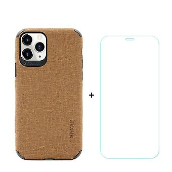 Voor iPhone 11 Pro Case Denim Texture Brown & Tempered Glass Screen Protector