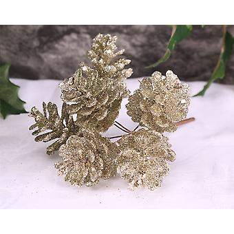 6 Medium Champagne Glitter Pine Cones on Wire for Floristry Crafts