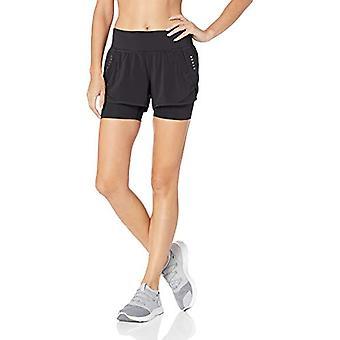 Marke - Core 10 Frauen's Standard stricken Bund Run Short mit eingebauter Kompression, schwarz, Medium