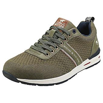 Mustang Lace Up Low Top Mens Fashion Trainers in Khaki