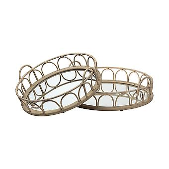 """S/2 20"""" Natural Blonde Wood With Intricately Railings And Mirrored Glass Bottom Round Tray"""