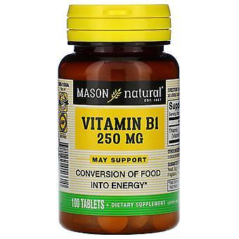 Mason Natural, Vitamin B-1, 250 mg, 100 Tablets