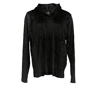 Cuddl Duds Women's Pajama Top Ultra Plush Velvet Fleece Black A369296