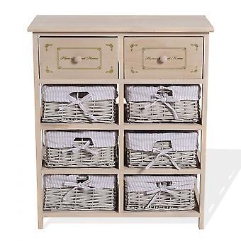 Rebecca Furniture Mobile Belief 2 Laden 6 Ceste Wood Wicker Beige 70x60x30
