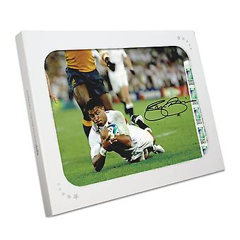 Jason Robinson Signed England Rugby Photo: World Cup Final Try. In Gift Box