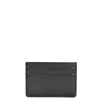 A.p.c. Pxbjqh63028lzz Men's Black Leather Card Holder