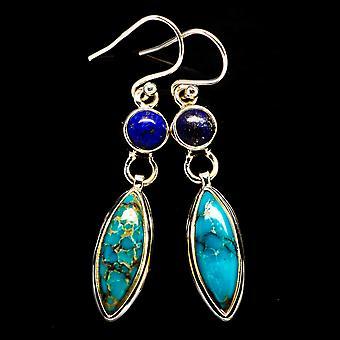 "Tibetan Turquoise, Lapis Lazuli Earrings 1 7/8"" (925 Sterling Silver)  - Handmade Boho Vintage Jewelry EARR405863"