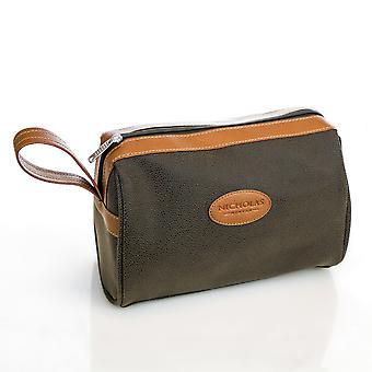 Nicholas Winter Classic Men's Faux Leather Travel Shaving Toiletries Wash Bag - Green