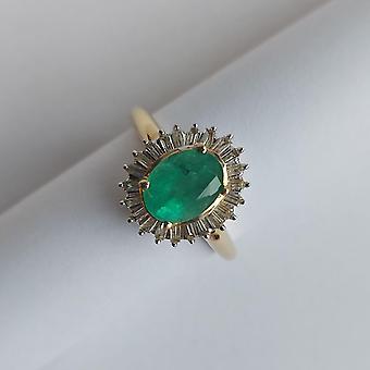 Vintage Ring Gold 14K avec diamants taille émeraude et baguette