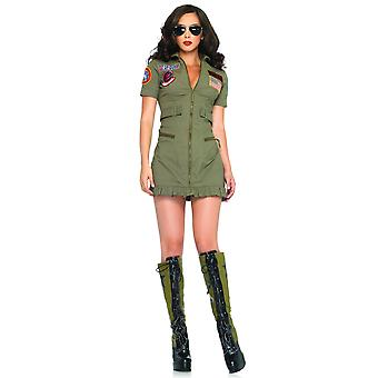 Top Gun Dress Military Aviator Pilot Air Force Flight 1980s Women Costume
