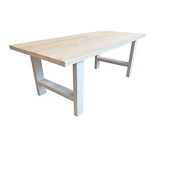 Wood4you - Eettafel Seattle geschaafd vurenhout 200Lx78Hx90D cm wit