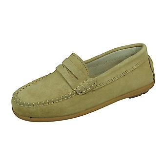 Angela Brown Hadley Kids Suede Leather Moccasins / Toddlers Slip on Shoes - Beige