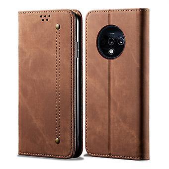 Für OnePlus 7T Denim Textur Casual Style horizontal Flip Ledertasche mit Halter & amp; Kartensteckplätze & Brieftasche(Braun)