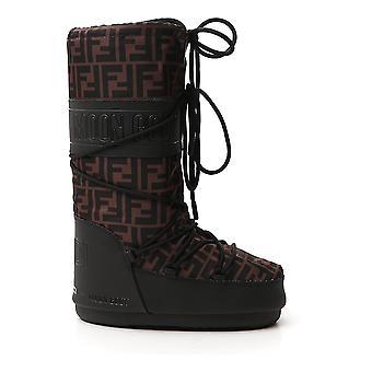 Fendi 8u8072ae73f0r7v Women's Brown/black Nylon Ankle Boots