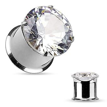 """Pair of prong set round cz top double flared tunnels - 10g to 1/2"""" gauge"""